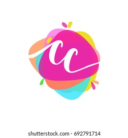 Letter CC logo with colorful splash background, letter combination logo design for creative industry, web, business and company.