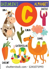 Letter C.Cute children's alphabet with adorable animals and other things.Poster for kids learning English vocabulary.Cartoon vector illustration.