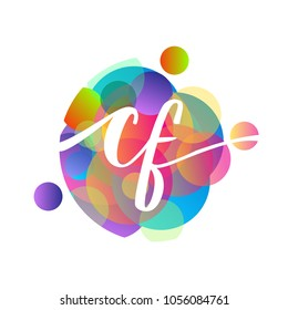 Letter CF logo with colorful splash background, letter combination logo design for creative industry, web, business and company.