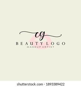 Letter CG Watercolor Lips Premade Logo Design, Logo for Makeup Artist Business Branding, Blush Beauty Boutique Logo Design, Calligraphy Logo