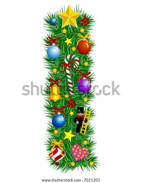 Letter I - Christmas  decoration - Alphabet