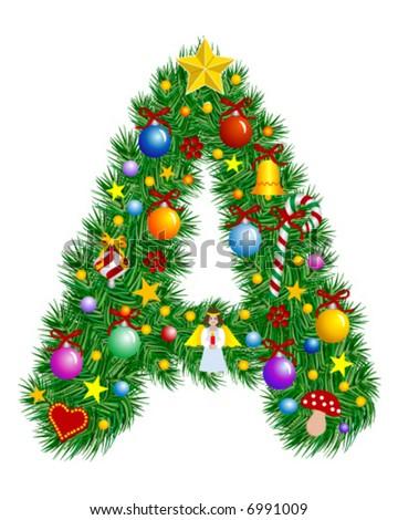 Letter Christmas Tree Decoration Alphabet Stock Vector (Royalty