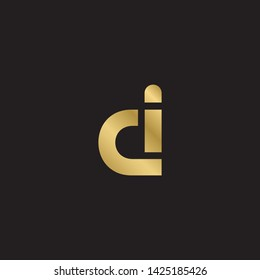 Letter ci cid d linked lowercase logo design template elements. Gold letter Isolated on black  background. Suitable for business, consulting group company.