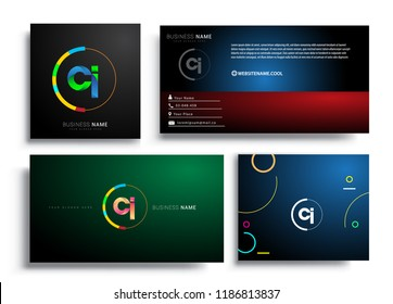 Letter CI logotype with colorful circle, letter combination logo design with ring, sets of business card for company identity, creative industry, web, isolated on white background.
