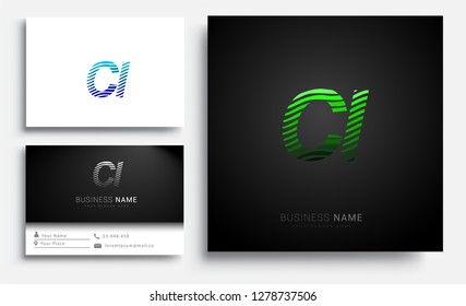 Letter CI logotype with colorful circle, with striped composition letter, sets of business card for company identity, creative industry, web.