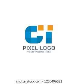 Letter CI Pixel Logo Design Template. Alphabet Pixel motion Logo.
