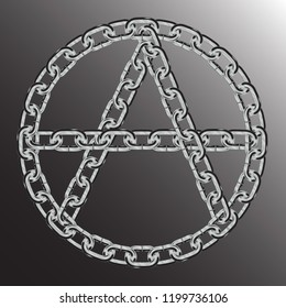"""letter """" A """" in the circle. symbol of anarchy from metal chains. isolated on black background"""