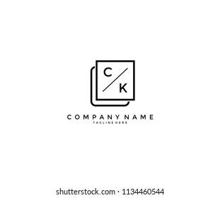 Letter CK KC Shape Minimalist Modern Logo