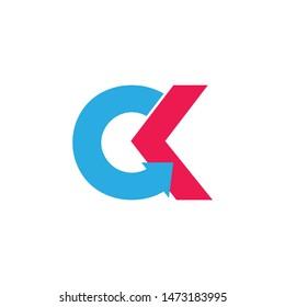 letter ck linked arrow simple logo vector