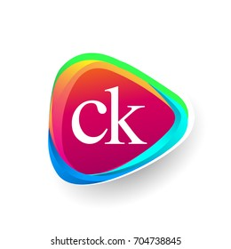 Letter CK logo in triangle shape and colorful background, letter combination logo design for company identity.