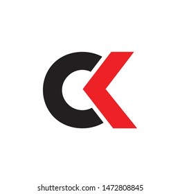 letter ck simple circle geometric logo vector