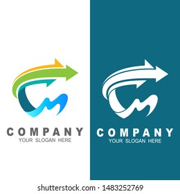 letter CM with arrow logo design vector, C, M, fast and speed logo