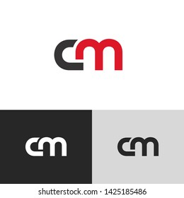 Letter cm linked lowercase logo design template elements. Isolated on white black grey background. Suitable for business, consulting group company.