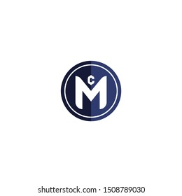 Letter CM logo with Coin shape icon design company. CM logo illustration vector template.