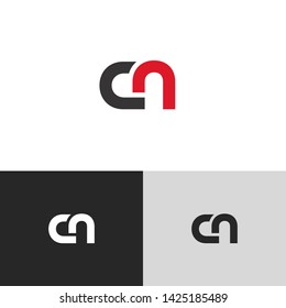 Letter cn linked lowercase logo design template elements. Isolated on white black grey background. Suitable for business, consulting group company.
