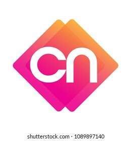 Letter CN logo with colorful geometric shape, letter combination logo design for creative industry, web, business and company.