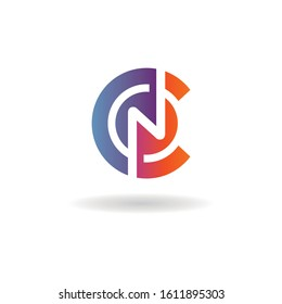 letter CN logo vector circle element template