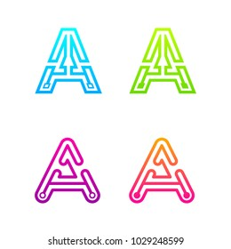 Letter A Colorful logotype with Three Line Dots Link, Square and Circle shape Maze Labyrinth, Technology and Digital Connection concept for your Corporate identity