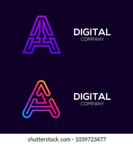 Letter A Colorful logotype with Three Line, Square and Circle shape Maze Labyrinth, Technology and Digital Connection Link concept for your Corporate identity