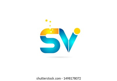 letter combination sv s v orange blue alphabet for company logo. Suitable as logotype icon for a business
