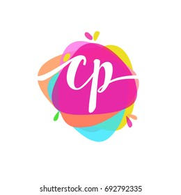 Letter CP logo with colorful splash background, letter combination logo design for creative industry, web, business and company.