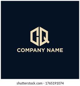 Letter CQ logo.Hexagonal logo.Template logo.Geometric logo