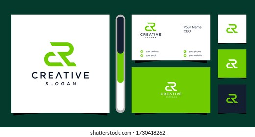 letter CR logo design vector and business card