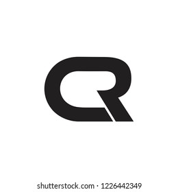 letter cr simple curves design logo