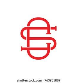 letter cs 3d overlapping design logo vector