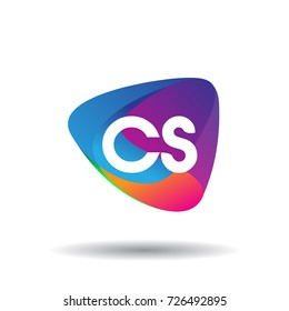 Letter CS logo with colorful splash background, letter combination logo design for creative industry, web, business and company.