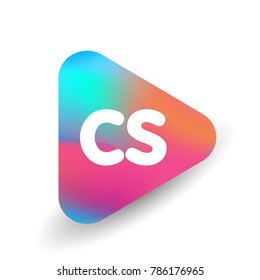 Letter CS logo in triangle shape and colorful background, letter combination logo design for business and company identity.