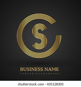 Letter CS or SC linked logo design circle S shape. Elegant golden colored, symbol for your business name or company identity.