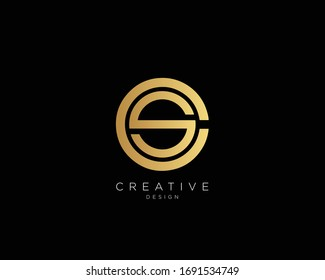 Letter CS SC Logo Design, Creative Minimal CS SC Monogram In Gold Color