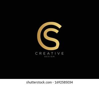 Letter CS SC Logo Design, Creative Minimal CS SC Monogram In Gold Color