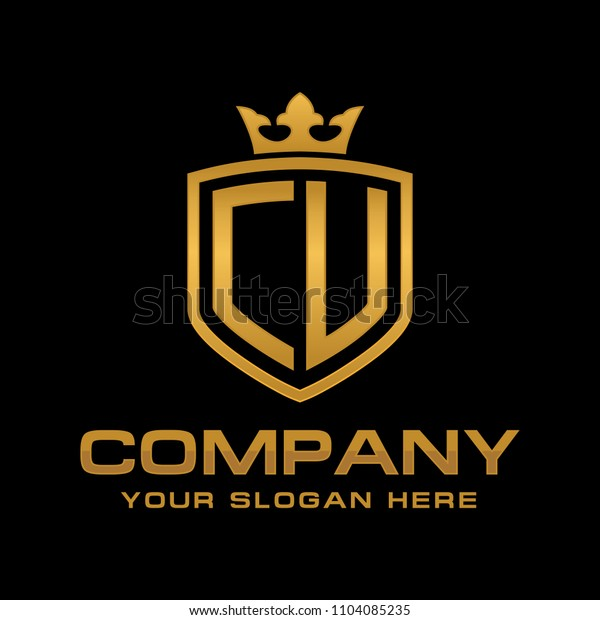 Letter CU initial with shield and crown, Luxury logo design vector
