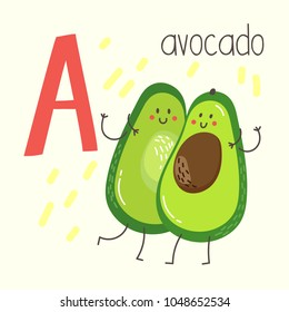 Letter A with cute cartoon avocado. Vector alphabet.