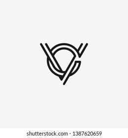 letter CV VC line art 2 lines logo template sticker