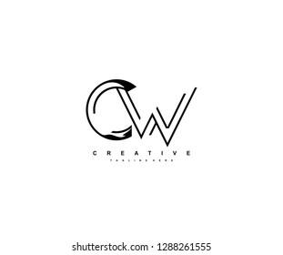 Letter CW Monoline Linear Minimalism Modern Type Logo