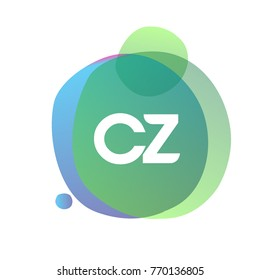 Letter CZ logo with colorful splash background, letter combination logo design for creative industry, web, business and company.