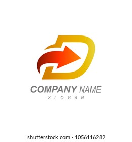 Letter D With Arrow Business Logo Template