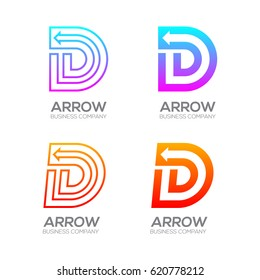 Letter D with Arrow, Finance, Business, Moving, Forward, Logotype