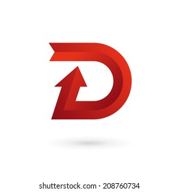 Letter D arrow ribbon logo icon design template elements. Vector color sign.