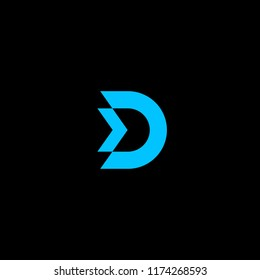 letter D with arrow to the right icon concept template design logo black background