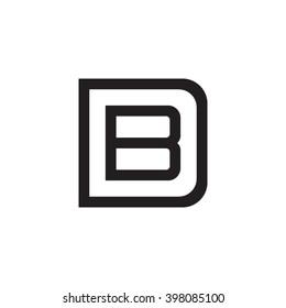 letter D and B monogram square shape logo black