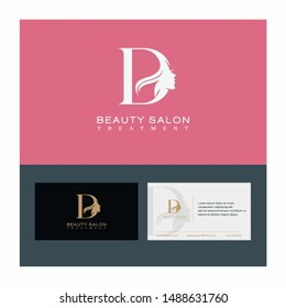 Letter D Beauty Salon Vector , Initial Logo With Card Template