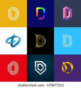"Letter ""D"" big logo pack. Creative vector monograms. Eps10 format."