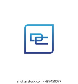 The letter D and C Monogram With Frame Square. Logo Design Template Blue