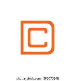 letter D and C monogram square shape logo orange