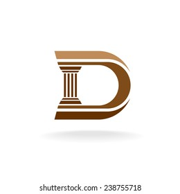 Letter D with column integrated sign. Lawyer, business, architecture design concept.