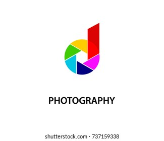 letter d creative photography logo template design